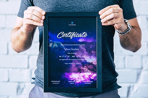 Framed star certificate